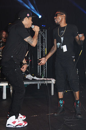 Hype man - Hype man Relione (right) performing with rapper Chef Sean.