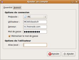 Screenshot de Pidgin pour un Wikilivre.