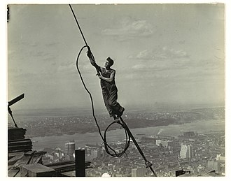 Empire State Building - Photograph of a cable worker taken by Lewis Hine