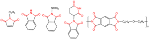 Imide - Illustrative imides, from left: ''N''-ethylmaleimide, a biochemical reagent; phthalimide, an industrial chemical intermediate; Captan, a controversial herbicide; thalidomide, a drug that once caused many birth defects; a subunit of Kapton, a high strength polymer used to make space suits.