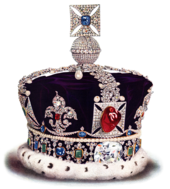 Crown festooned with pearls, diamonds, and other precious stones