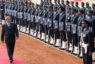 Guard of honour - The guard of honour is commonly used to greet foreign dignitaries. Brazilian President Lula da Silva at the Rashtrapati Bhavan receives a guard of honour ceremony from members of IAF.