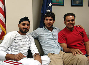 History of cricket in India from 2000–01 - Current Indian cricketers Harbhajan Singh, Yuvraj Singh and Virender Sehwag (left to right)