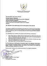 Indonesian Government Letter to Malaysian Government for the Release of Siti Aisyah