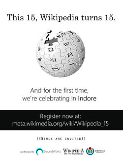 Poster designed by Vivek Tiwari for advertisement of Wikipedia's 15th anniversary celebrations in Indore.