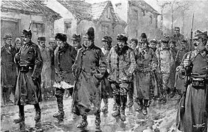 1907 Romanian Peasants' revolt - Infantry escorting prisoners through Piatra Neamț (Illustrated London News)