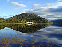 Inveraray Bridge on Loch Fyne. The spires of I...