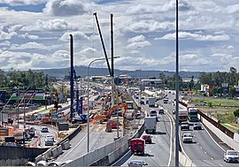 Ipswich Motorway upgrade, looking east at Oxley Road roundabout, Oxley, Queensland.jpg