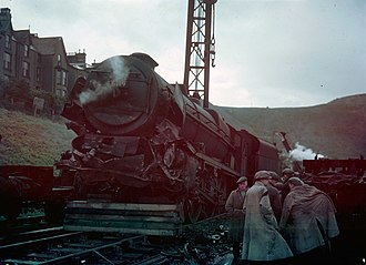 Irish Mail - The aftermath of the Penmaenmawr railway accident in 1950 - LMS Rebuilt Royal Scot Class No. 46119 Lancashire Fusilier with accident damage