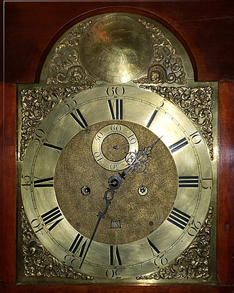 Isaac Doolittle - Isaac Doolittle brass hall clock face, c. 1770s