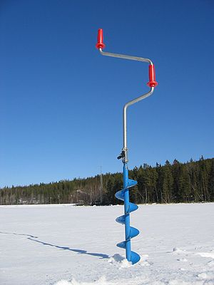 Ice fishing auger drill