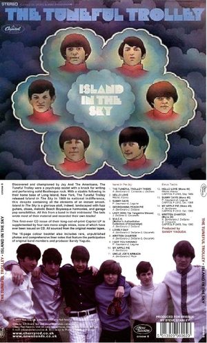 """The Tuneful Trolley - Front and back cover of the 2008 release of The Tuneful Trolley's 1968 album """"Island in the Sky"""""""