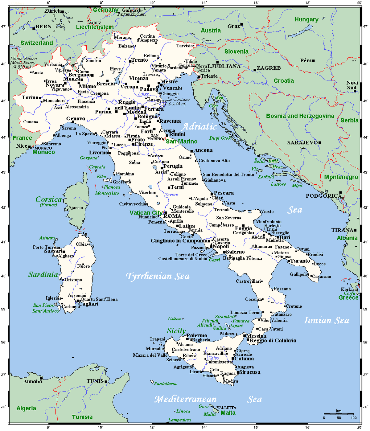 Map Of Italy With Towns.List Of Twin Towns And Sister Cities In Italy Wikipedia