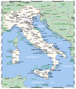 Italy's cities and main towns