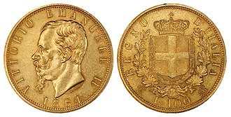 Italian lira - 1864 100 Lira depicting Victor Emmanuel II of Italy.