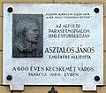 János Asztalos plaque Kecskemét Kossuth tér1.jpg