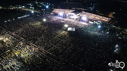 Jesus Is Lord Church Worldwide celebrating its anniversary in Quirino Grandstand, Burnham Green, Rizal Park JIL39Aerial.jpg