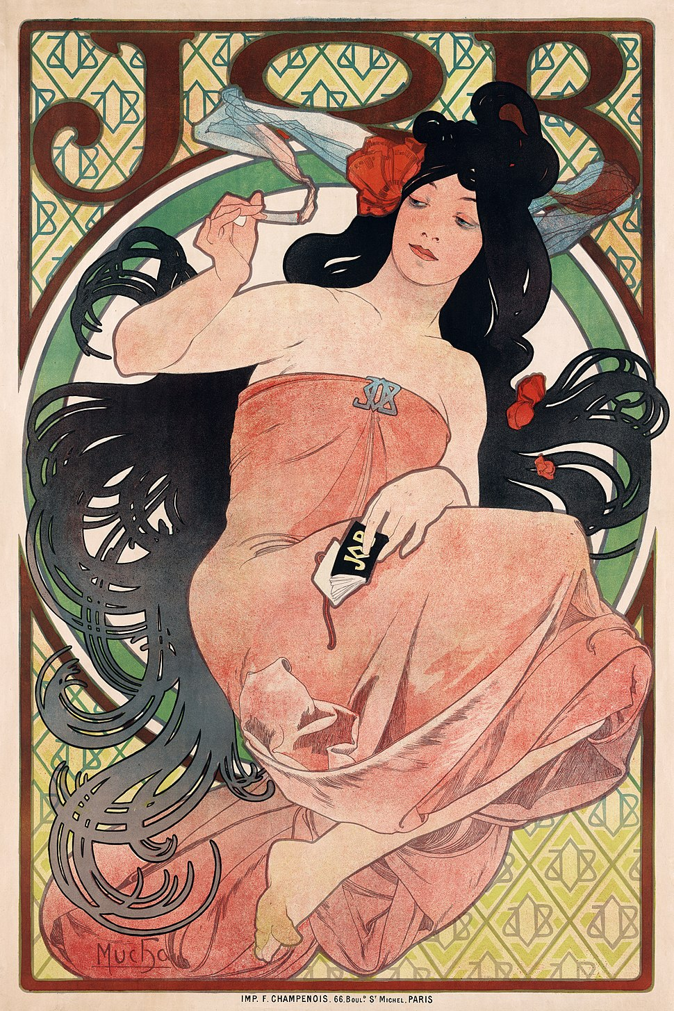 JOB, cigarette paper advertisement by Alfons Mucha, 1898