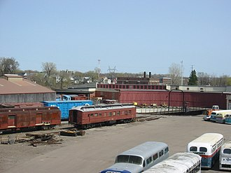 Minnesota Transportation Museum - A rear view of the roundhouse, including some of the historic buses