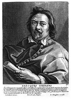 Jacob Jordaens - Portrait engraving by Joannes Meyssens
