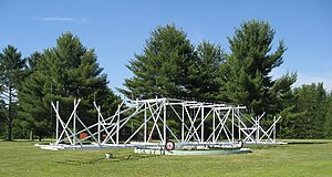 Radio telescope - Full-size replica of the first radio telescope, Jansky's dipole array, preserved at the US National Radio Astronomy Observatory in Green Bank, West Virginia.