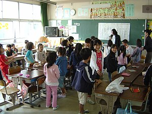 A typical classroom in a Japanese elementary s...