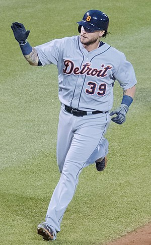 Jarrod Saltalamacchia - Saltalamacchia playing for the Detroit Tigers in 2016