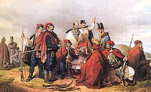 Battle of Schwechat - Jelačić  with his soldiers before the Battle of Schwechat (Hand-coloured lithograph by Joseph Kriehuber and Johann Höfelich)