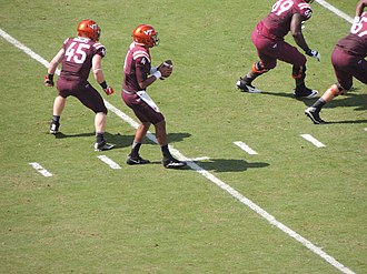 Jerod Evans - Evans dropping back to throw a pass, Sep 2016