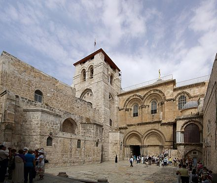 Church of the Holy Sepulchre in Jerusalem, Israel according to tradition is the site where Jesus was crucified and resurrected Jerusalem Holy Sepulchre BW 19.JPG