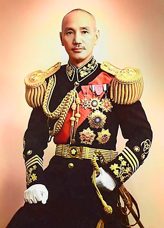 Chiang Kai-shek - 1940 photo of Chiang Kai-shek in full military uniform. (colourized in 1946)