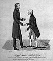 John Dalton shaking hands with Gerrit Moll 1834 Wellcome L0006172.jpg