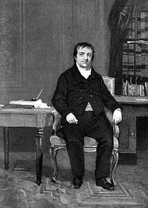 Astor Library - John Jacob Astor, an engraving based on an 1864 portrait by Alonzo Chappell