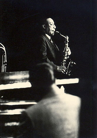 Musical improvisation - Improvisation plays a central role in jazz; musicians learn progressions using scale and chord tones (Pictured is Johnny Hodges)