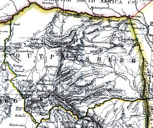 Makuleke - Makuleke shown near the northeastern boundary of district Zoutpansberg, on a map of 1897