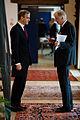 Jonas Gahr Stoere, Norges utrikesminister och Erkki Tuomioja, Finalnds utrikesminister. Presskonferens med utrikesministrarna under Nordiska Radets session 2011 i Kopenhamn.jpg