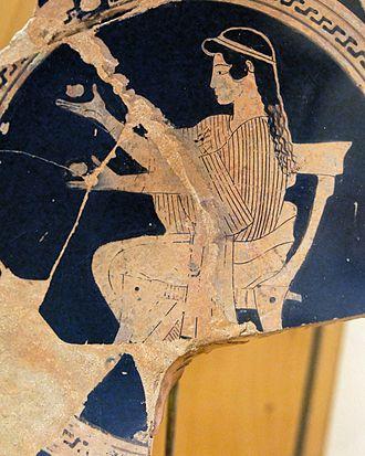 "History of juggling - Seated girl juggling. Fragmented tondo of an Attic red-figure kylix, 470–460 BCE, Regional Archaeological Museum ""Antonio Salinas"", Palermo, 3d floor, Greek ceramics."