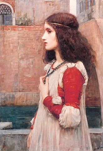 Characters in Romeo and Juliet - Juliet or The Blue Necklace (1898) by John William Waterhouse