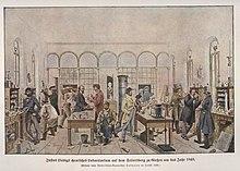 Liebigs Gießener Labor, um 1841, Abbildung nach einem Gemälde von Wilhelm Trautschold (Quelle: Wikimedia)