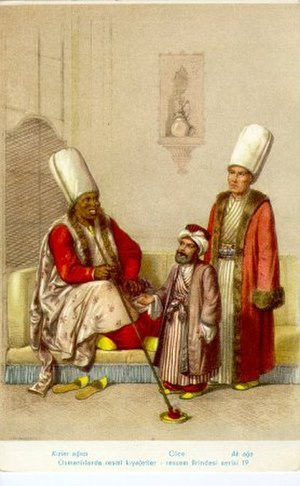 Harem - 19th-century depiction of the Chief Black Eunuch (left), a court dwarf (middle) and the Chief White Eunuch (right)