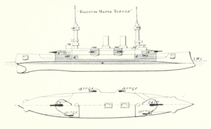 SMS Kaiserin und Königin Maria Theresia - Line-drawing of Kaiserin und Königin Maria Theresia