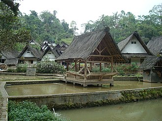 Kampong - Traditional houses and pond pavilion of Kampung Naga, a traditional Sundanese village in West Java, Indonesia