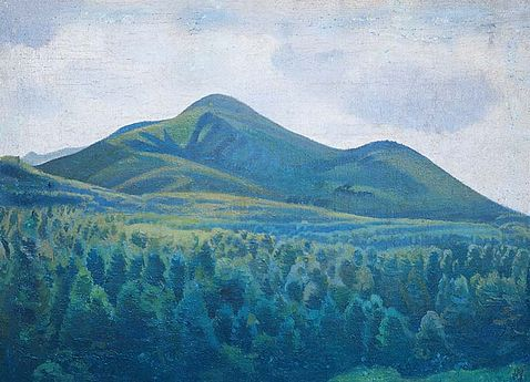 Landscape painting of mountains in the distance and vast forests in the foreground