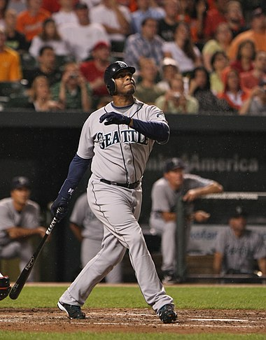 Ken Griffey Jr. holds six single-season batting records and an individual career record for the Mariners franchise. Ken Griffey, Jr. June 2009.jpg