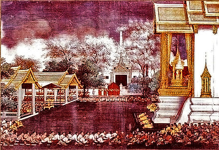 Taksin's coronation at Thonburi (Bangkok) 28-December-1768 KingTaksin's coronation.jpg