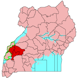 Location of the  Tooro Kingdom  (red)in Uganda  (pink)