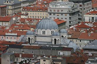 Saint Spyridon Church, Trieste - Image: Kirche der Dreifaltigkeit und des Hl. Spyridon (Triest) von oben