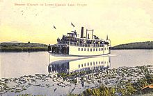 Colored-drawing postcard of a small steamboat packed with passengers, slowly moving through the lake's marshlands, with birds circling overhead