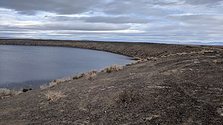 Pair of alkaline lakes in maar volcano craters in Churchill County, Nevada