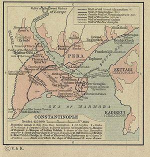 Mapa con Constantinopla, la Propóntide (o Mar de Mármara ), el ...